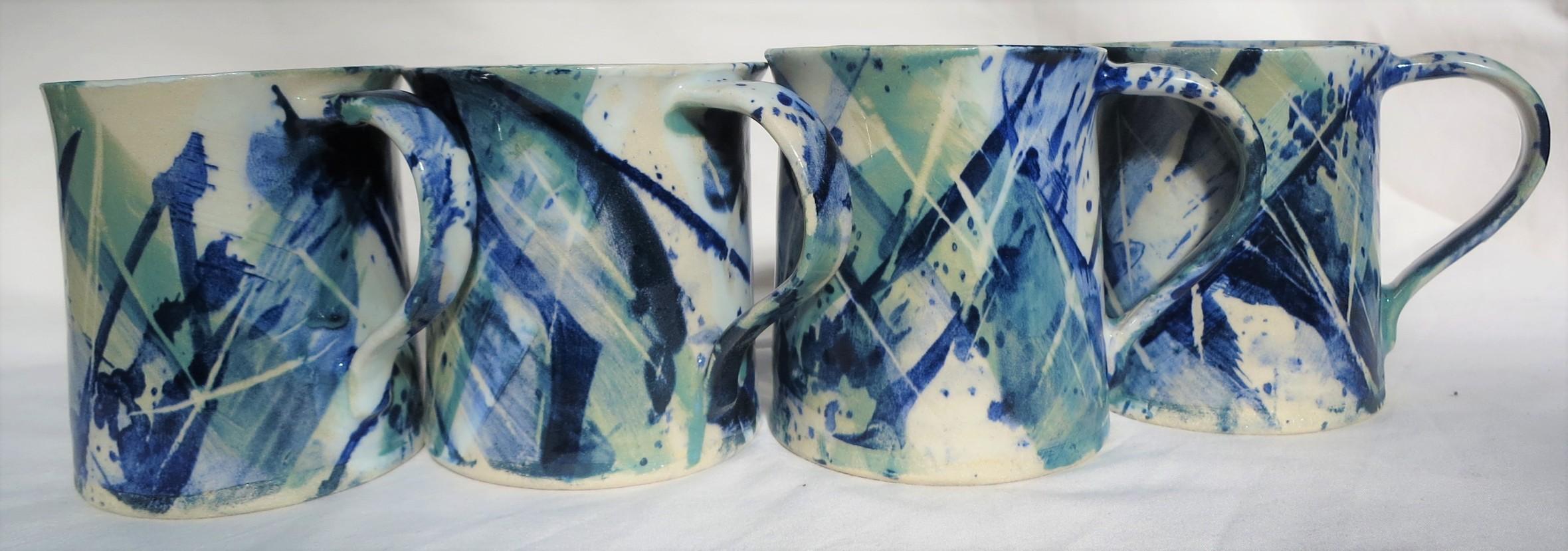 Splash Blue Mugs x 4 (2)